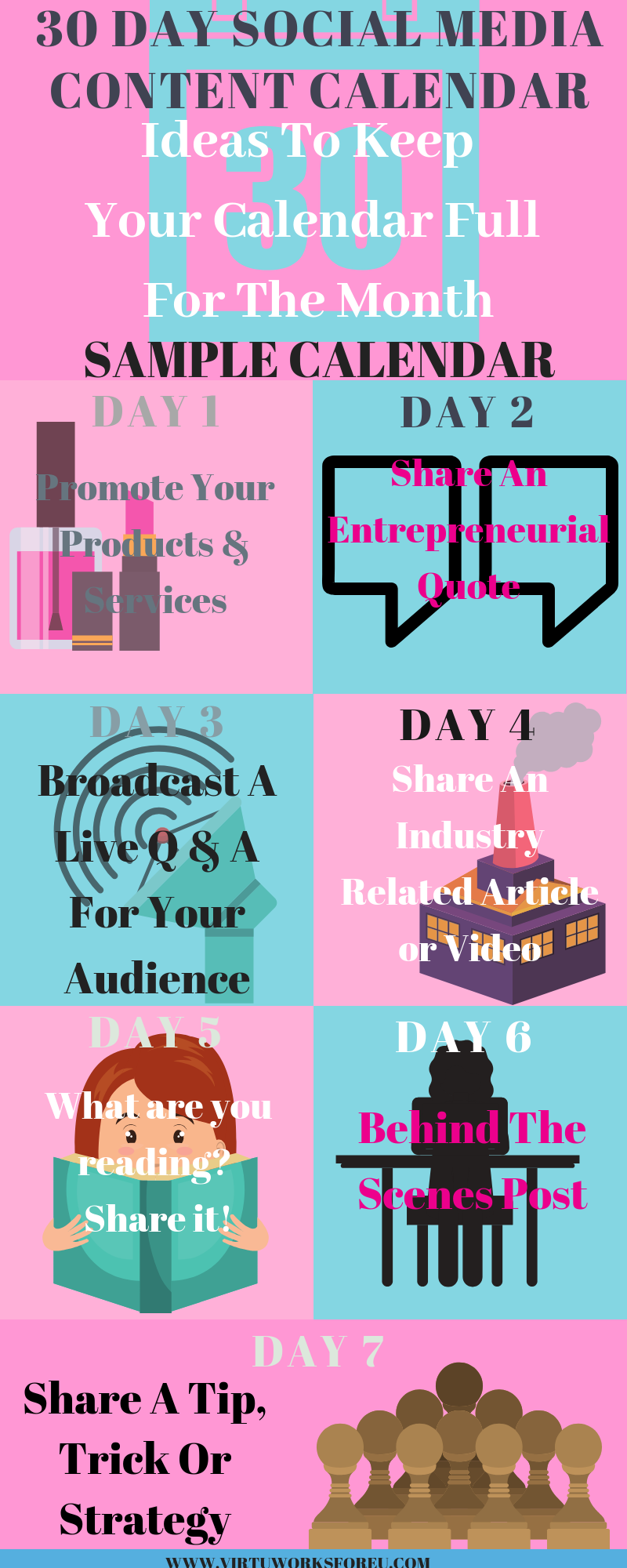 The 30-Day Social Media Content Calendar – Virtu Works Fore